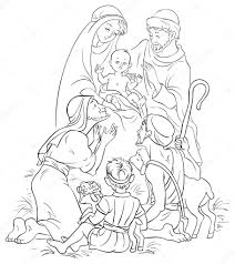 outlined illustration of a nativity scene jesus mary joseph
