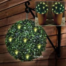 2 x solar powered light up led topiary bush balls patio ornaments