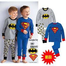 kid superman batman pajamas children fall sleepwear