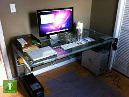ikea gaming computer desk setup with drawer also triple monitors