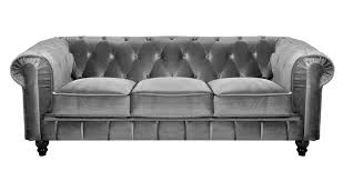 canapé velours gris deco in canape 3 places velours gris chesterfield can