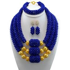 color beads necklace images African beads jewelry set blue acrylic gold color balls women jpg