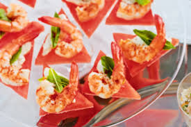 canapes with prawns prawn and watermelon bites