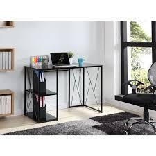 plateau verre trempé bureau trigo bureau en métal plateau et étagere en verre trempé noir l 110 cm
