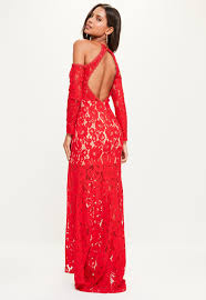 red lace cold shoulder maxi dress missguided