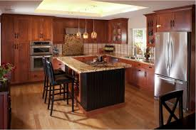 cherry wood kitchen cabinets with black granite brown varnished