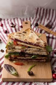 crispy pan fried tofu sandwich with chai cranberry sauce exsloth