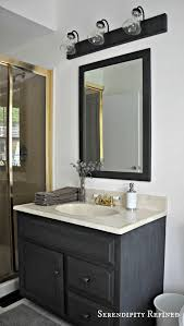 Painted Vanities Bathrooms Serendipity Refined Blog How To Update Oak And Brass Bathroom