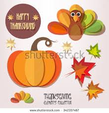 happy thanksgiving day elements set pumpkin stock vector 508132498