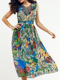 bohemian beaded leaf tropical print women u0027s midi dress in l