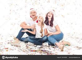 family with christmas confetti u2014 stock photo igorvetushko 166145958