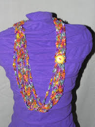 ladder ribbon multi colored chain crochet ladder ribbon yarn necklace scarf with
