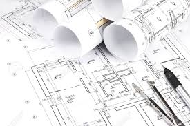 blueprint floor plans with drawing tools stock photo picture and