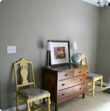 the wall paint color is fossil grey by glidden master bathroom