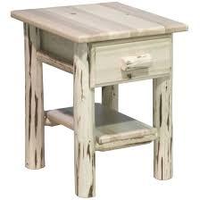 montana skip peel log nightstand with single drawer rustic log