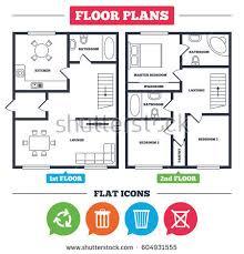 architecture plan furniture house floor plan stock vector