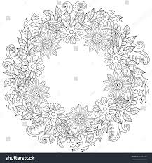 floral doodles wreath zentangle ornamental style stock vector