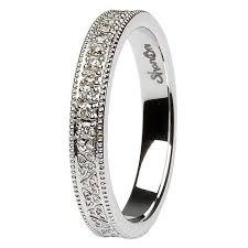 white gold wedding bands for celtic knot diamond set 14k white gold wedding ring