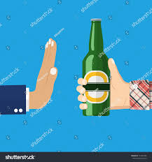 No Alcohol Man Offers Drink Holding Stock Vector 714701092