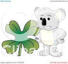 clipart of a koala bear mascot character with a st patricks