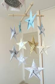 mobile 10 étoiles décoration murale en origami turquoise or gris