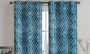 96 Long Curtains Pair Of Geometric Pattern Curtains 84