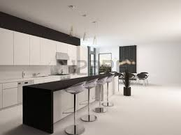 Kitchen With Bar Table - modern open plan apartment kitchen interior with a counter with