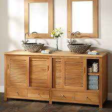Arrey Teak Double Vessel Sink Vanity Natural Teak Bathroom - Bathroom vanities double vessel sink