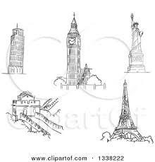 clipart of black and white sketches of the leaning tower of pisa