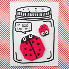 origami ladybug valentines with free printable pink stripey socks