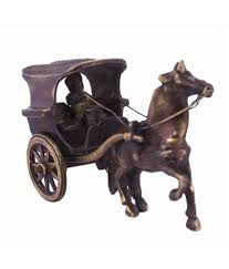 Horse Statues For Home Decor by Craft Art India Antique Brown Finish Single Horse Chariot Brass