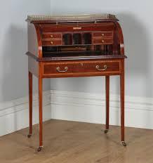 Ladies Secretary Desk Antique English Edwardian Ladies Mahogany U0026 Leather Cylinder