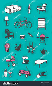 set retro home vector icons common stock vector 338080646