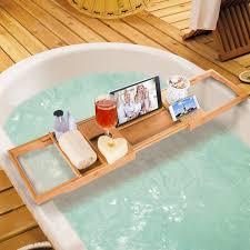 bathtub caddy with book holder hicollie craft natural bamboo bathtub caddy bath tub tray organizer