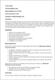 wholesale mortgage account executive cover letter