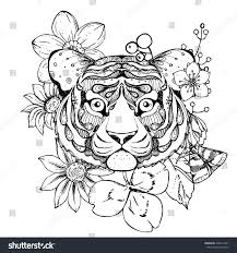 hand drawn ink doodle tiger flowers stock vector 396521941