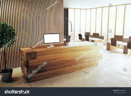 Wood Reception Desk Side View Modern Interior Wooden Reception Stock Illustration