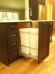 Kitchen Island With Trash Bin Garbage Cabinet Microwave Kitchen Cart Hideaw 17345 Hbrd Me
