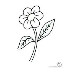 fiori disegni disegno di fiore con foglie da colorare per bambini
