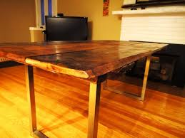 brushed nickel dining table barn board dining table on reclaimed brushed nickel legs