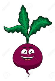 cheerful happy cartoon beetroot vegetable with fresh green leaves