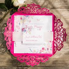 pink wedding invitations fuschia and gold wedding invitations tropical hot pink floral