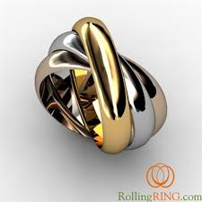 tricolor ring rolling ring tricolor tri color white and yellow 14k