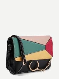 ring design color block flap pu shoulder bag shein sheinside
