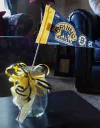 boston bruins baby boy baby shower centerpiece fill with daisies