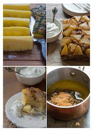 fresh pineapple upside down cake food and tools