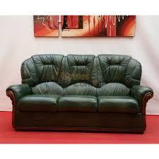 canapé cuir et bois rustique cuvette cuir vert bois apparent 3 places n136