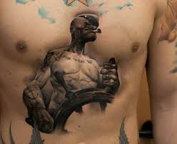 popeye 3d on chest cool tattoos continues