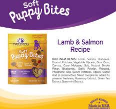 wellness soft puppy bites lamb u0026 salmon recipe dog treats 3 oz