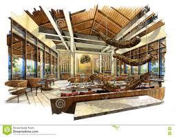 Interior Design Sketches Sketch Perspective Interior Restaurant Into A Watercolor On Paper